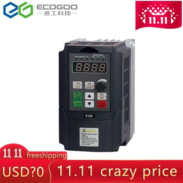 Mini convertisseur de fréquence 0.75 1.5 2.2kw 220 V monophasé 380 V 3 phases d'entrée VFD convertisseur de fréquence