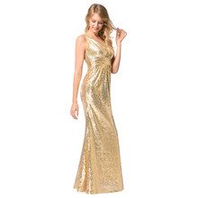 Sexy Women Sequined Evening Maxi Dress Sleeveless V Neck High Waist Ruched  Front Formal Party Gown Dresses Women vestidos Female 696653b5a2bd