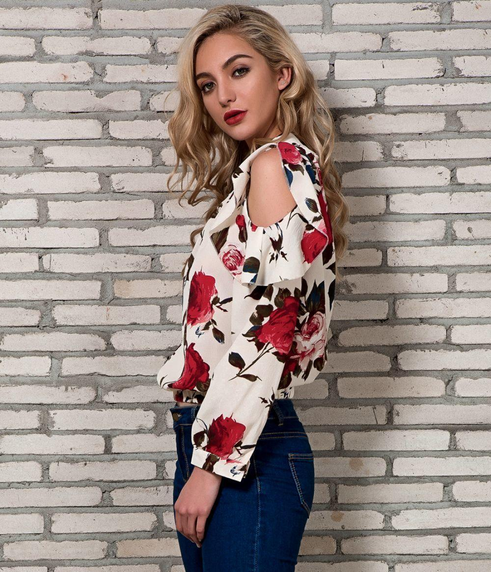 Print New Cold Arrivals Shoulder Tops Chiffon Women Floral Spring Blouses Ladies Womens 2018 Blouse Long Streetwear Sleeve