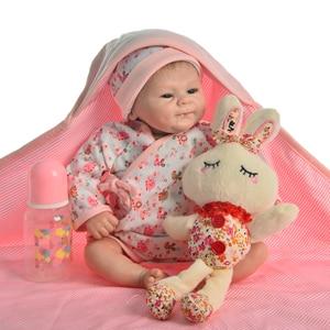 Image 3 - Muñeca de juguete Reborn de 17 pulgadas para niños, juguete de muñeca realista de juguete, de silicona suave, cuerpo de tela Reborn renacido