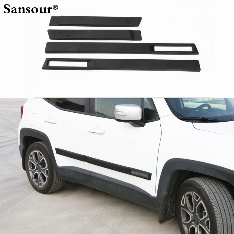 New ABS Body Side Moulding Door Cover Trim Kit Molding Protector Car Styling Mouldings for Jeep Renegade 2015 up 2pcs abs car interior accessories center control side strip cover trim for land rover lr4 discovery 4 2013 2016 car styling