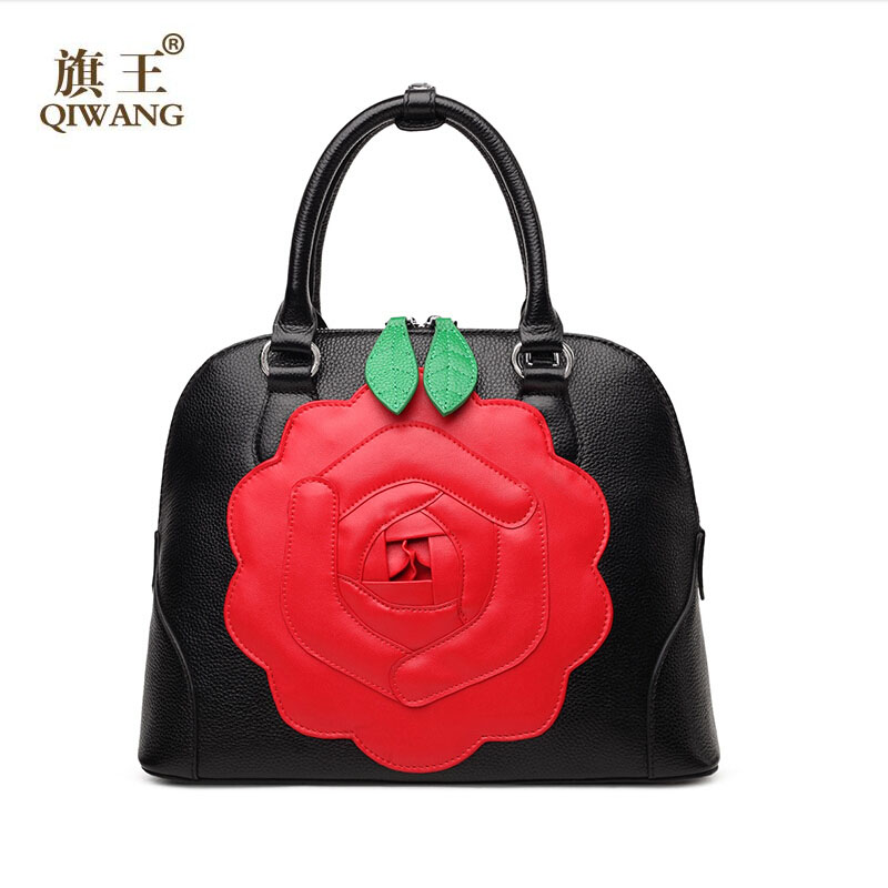 QIWANG women bag 2017 new genuine leather bag fashion green leaves red flower elegance shell bag women handbags shoulder bag