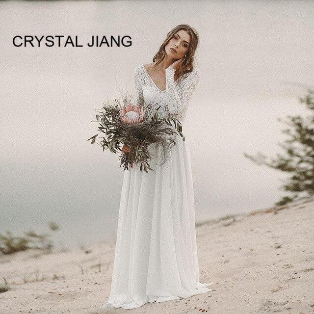 69e30658de New Arrival 2019 Sexy Beach Wedding Dress Custom made Long Sleeves Lace  Bridal Gown Chiffon V Back Zipper Simple Wedding Gown