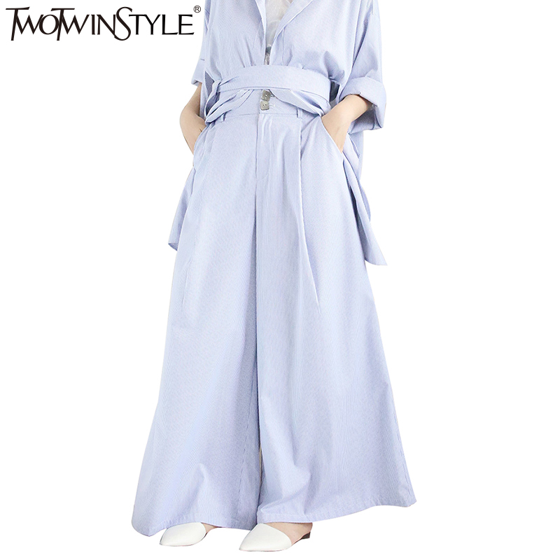 TWOTWINSTYLE Striped High Waist Wide Leg Pants Casual Kimono Women - Women's Clothing - Photo 5