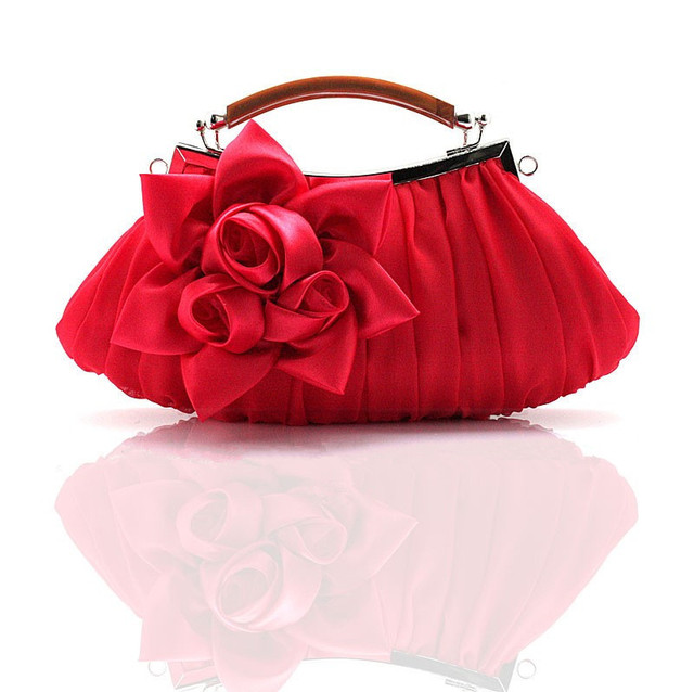 Red Chinese Women S Satin Handbag Clutch Evening Bag Party Bridal Purse Makeup Free Shipping 0005