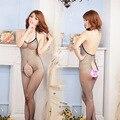 Mulheres Bodysuit Virilha Aberta sensuais Meias Arrastão de Malha Meias Sexy Em Exotic Lingerie Garter Belt e Meias das Mulheres