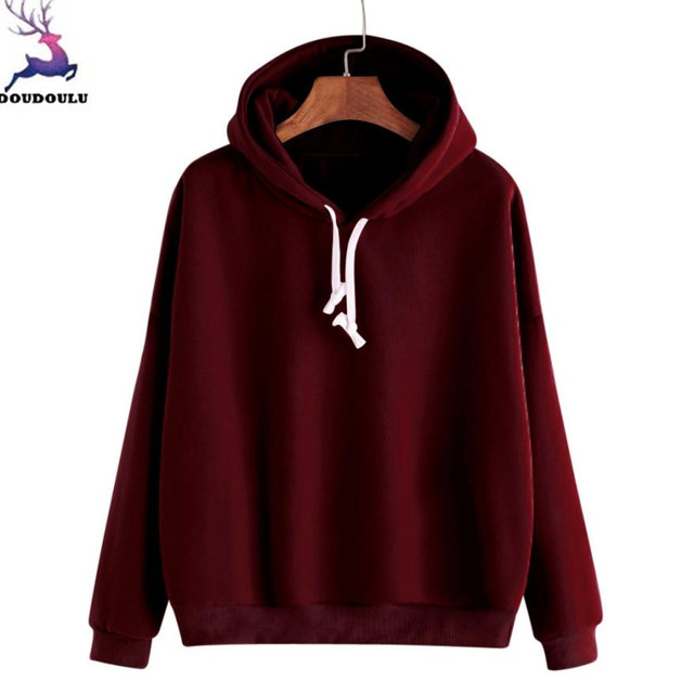 DOUDOULU Female sweatshirt Women Ladies Solid Long Sleeve Casual Hooded  Sweatshirt Pullover Top Blouse Moletom Feminino ES 70afed817e6
