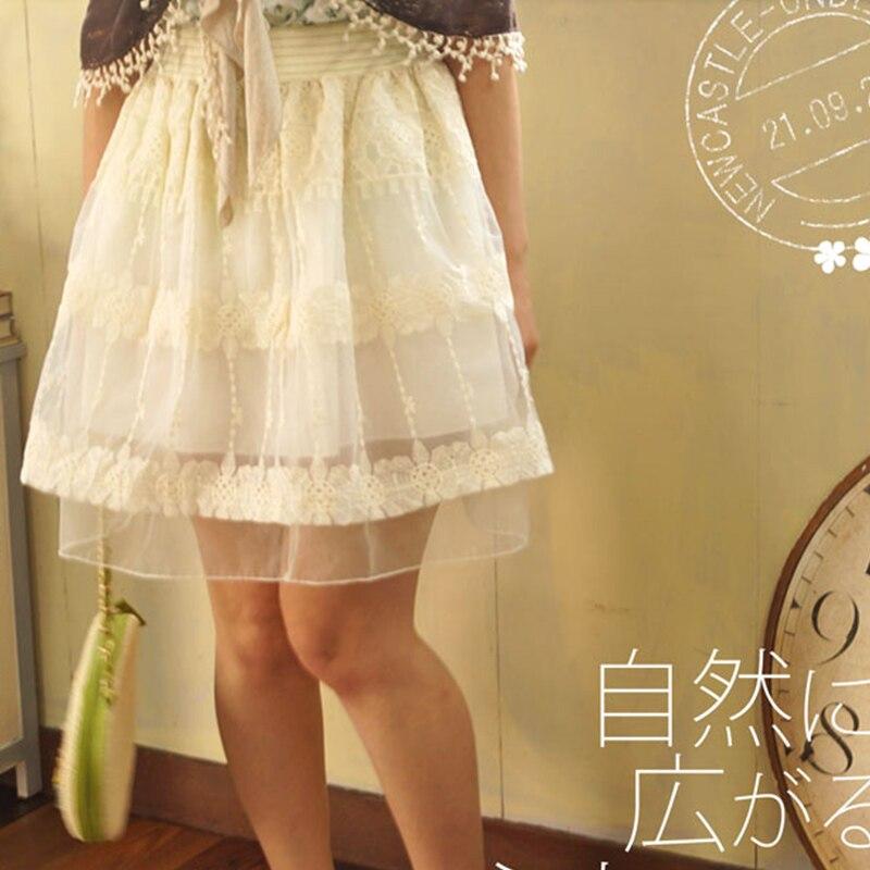 Harajuku Mori chica mujeres encaje volantes falda verano Casual Floral bordado capa de encaje Vestido princesa faldas A203-in Faldas from Ropa de mujer    1