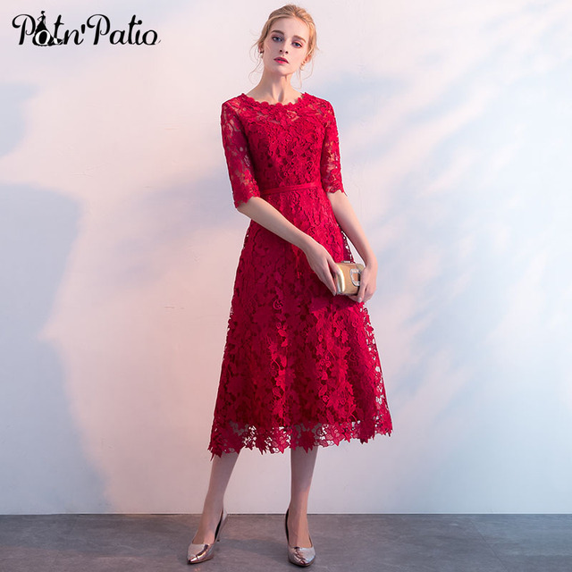US $62.25 25% OFF|Red Lace Formal Dress Women Elegant 2018 O neck With Half  Sleeves Evening Dresses Long Plus Size Special Occasion Dress-in Evening ...