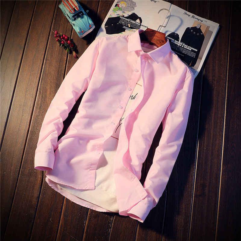 HOW L LOFTY/2018 Весенняя Мужская Однотонная рубашка с длинным рукавом, деловая рубашка casua, однотонная мужская рубашка, размер M-3XL