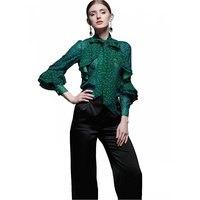 2018 Женская Блузка Chiffion офисная рубашка с длинными расклешенными рукавами блузы в горошек тонкая весенне осенняя Рабочая одежда рубашки Топ