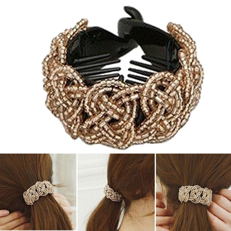 Banana Clip Women Hair Clip Beads Decorative Barrette Ponytail Holder Women Hair Accessories for Daily Work Party Dancing|Hair Clips & Pins|   - AliExpress