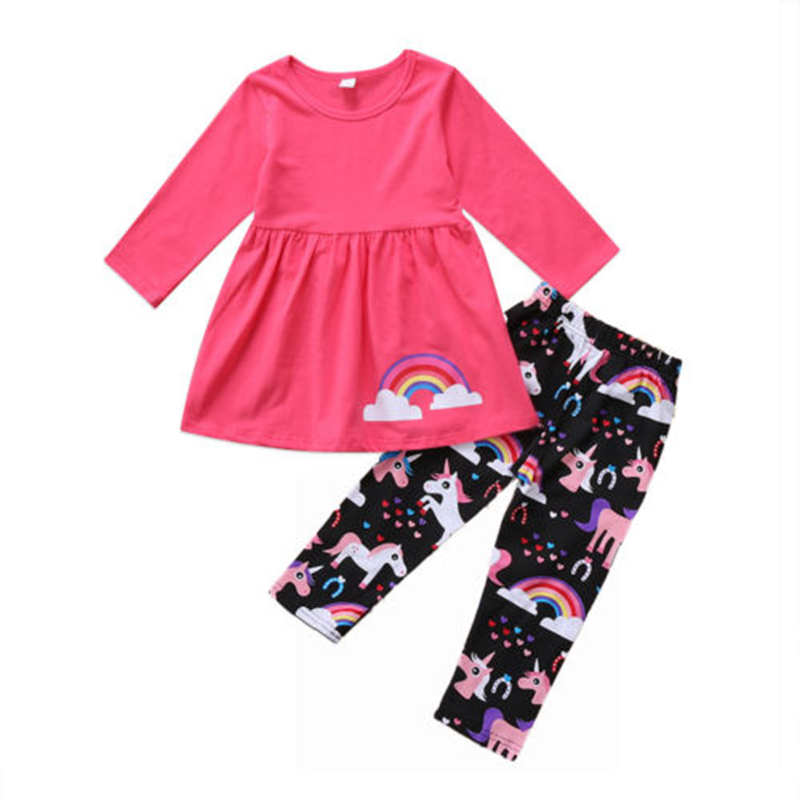 Long Pants Sets Unicorn Kids Baby Girls Outfits Clothes Long T-shirt Tops Dress