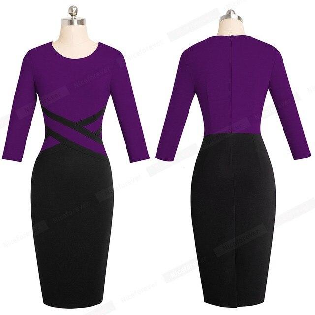 Autumn Women Elegant Patchwork Sheath Bodycon Work Office Business Pencil Dress 4