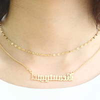 DUOYING Double Layered Necklace Beauty Dainty Gold Choker Personalize Custom Name Necklace Old English Gothic Necklaces