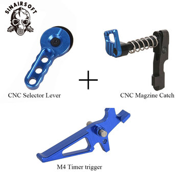 CNC Blue Machined Selector Lever Trigger Magazine Release Catch Suit For AEG M4/M16 Series Paintball Airsoft Hunting Accessories