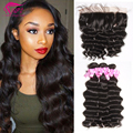 Hot Brazilian Loose Deep Wave Lace Frontal Closure With Bundles Human Hair Bundles With Ear To Ear Closure Pre Plucked Frontal