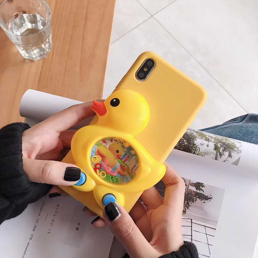 3D Game Duck Case for iPhone X Xs 11 12 mini Pro Max XR 6 6S 7 8 Plus SE 5 5S Cases Liquid Silicone Cover Reduce Stress Toy