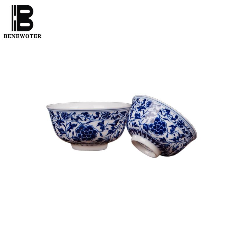 80ml Jingdezhen Porcelain Teacup Hand Painted Peony Flower Tea Cup Blue and White Porcelain Cup Kung Fu Tea Set Travel Teaware