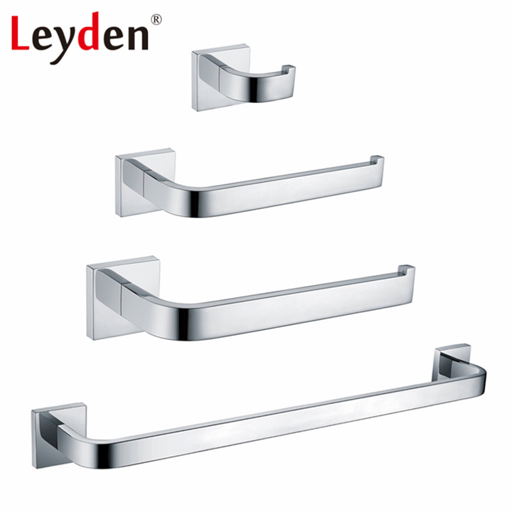 Leyden 4pcs Bath Set Stainless Steel Towel Bar Towel Ring Robe Hook Toilet Paper Holder Wall Mounted Chrome Bathroom Accessories комплект ручек защелок bussare 37 03 chrome