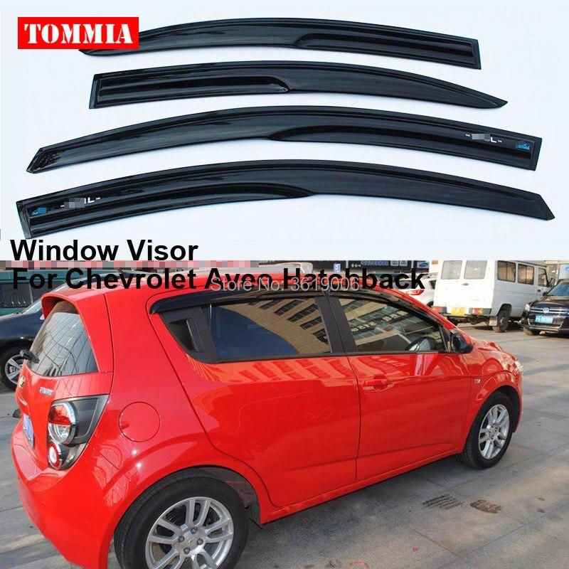 Tommia Fit pour Chevrolet Aveo hayon 4 pièces fenêtre visière ombre Vent pluie déflecteur garde couverture