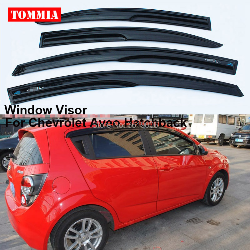 tommia Fit For Chevrolet Aveo Hatchback 4pcs Window Visor Shade Vent Wind Rain Deflector Guards Cover 2015 2017 car wind deflector awnings shelters for hilux vigo revo black window deflector guard rain shield fit for hilux revo