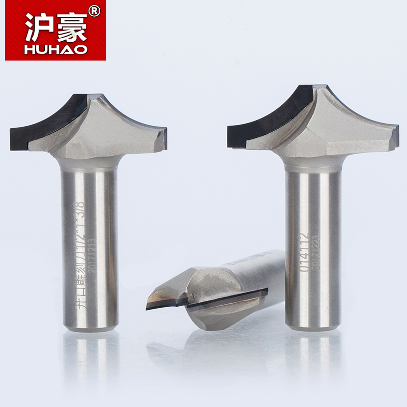 HUHAO 1pc 1/2 Shank Diamond CVD Coating Round Chisel Endmill Woodworking Cutter PCD Arc Line Cabinet Door Router Bit