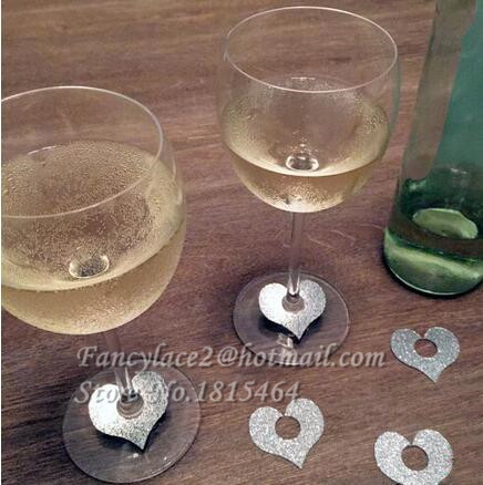 Online Shop 50pcs Glitter Heart Glass Ring Wine Drink Marker Name Tags Charms  Wedding Party Bachelorette Bridal shower place table cards  54f5bb58c2b8