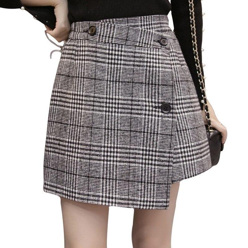 2019 Autumn and Winter Irregular Plaid Woolen Skirts Women Vintage High Waist A Word Skirt All Match Faldas Mujer Moda Mini Saia