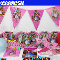 90pcs/set Princess Sofia the first theme Kid Birthday Party Decoration Set Party Supplies Baby Birthday event party supplies