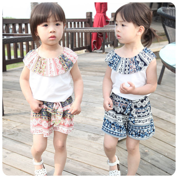 Korean Girl Garment 2016 Summer Pattern Printing A Doll Upper Short Sleeve T-Shirt Jacket Tether Shorts 2 Pieces Suit