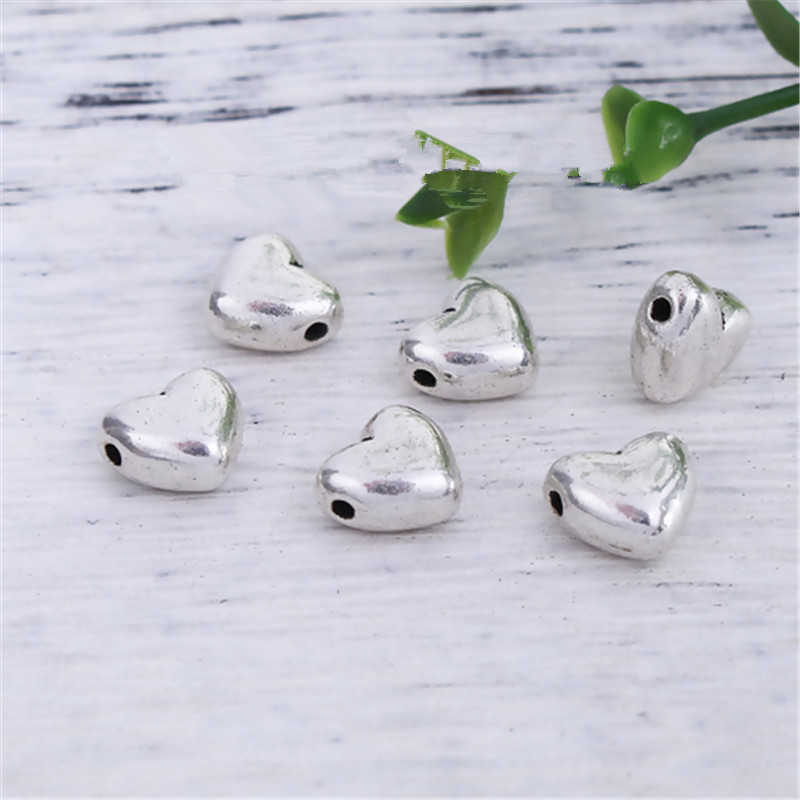 "DoreenBeads Zinc Based Alloy Spacer Beads Heart Antique Silver DIY Jewelry 10mm( 3/8"") x 9mm( 3/8""), Hole: Approx 1.1mm, 10 PCs"