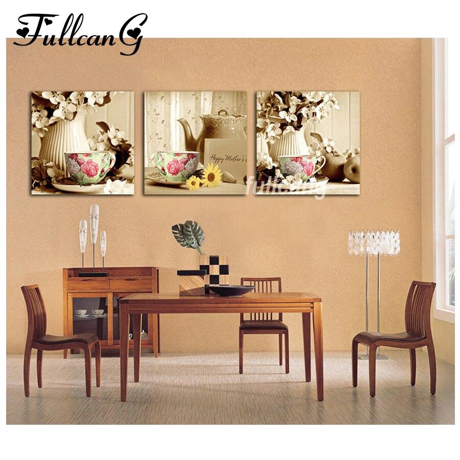 Vaisselle et fleurs diamant peinture ensemble artificiel pour broderie résine cabochon artisanat fait main triptyque décoration de la maison
