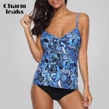 Charmleaks Tankini Set Women Swimwear Vintage Floral Print Swimsuit Tied Bikini Bathing Suit Beach Wear