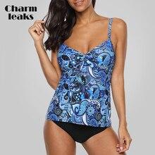 Charmleaks Tankini Set Women Swimwear Vintage Floral Print Swimsuit Tied Swimwear Bikini Bathing Suit Beach Wear lace up print tankini set swimwear