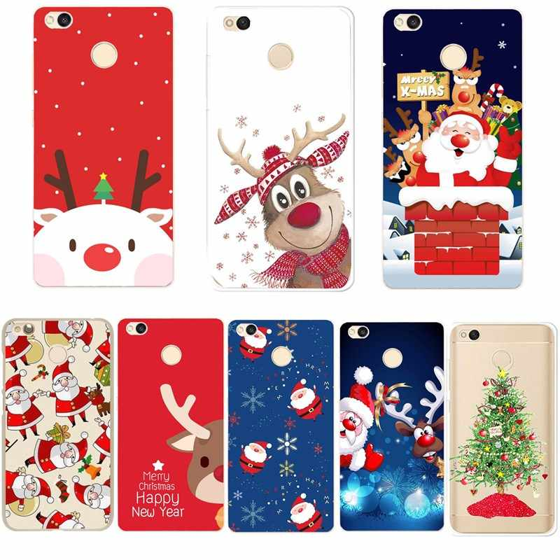 TPU Phone Case For Xiaomi Redmi Note 5 Note 4 5A Silicone Soft Merry Christmas Tree Santa Claus Elk Cover For Xiomi 4A 4X Mi A1