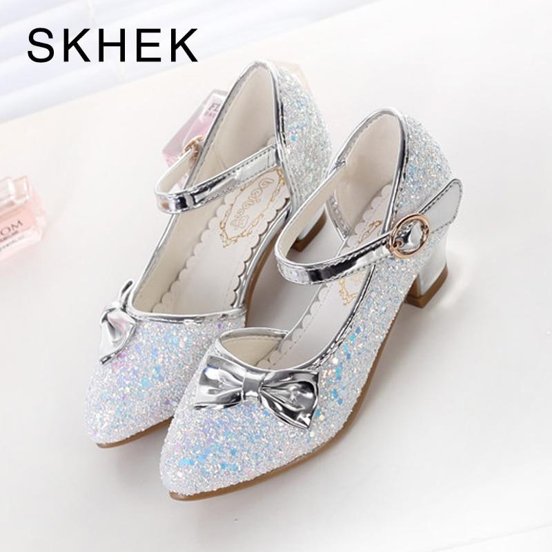 SKHEK Girls Sandals 2018 New Pearl Shoes Children's High Heels Fashion Pointed Shoes Girls Dance Shoe Princess Sandals
