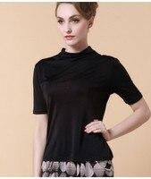 New Big spring high elastic silk knit shirt sleeve pile collar Korean OL T shirt 2018.