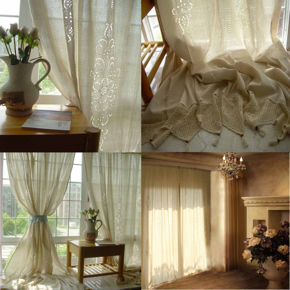Tab Top Fransk Land Cotton Linen Heklet Lace Curtain Panel Drape for - Hjem tekstil