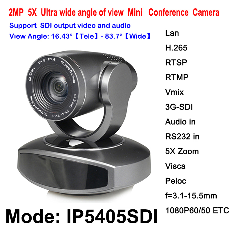 Ptz HD SDI IP Camera H.265 Onvif RTMP RTSP 2 Megapixels 1080P60 Pan Tilt 5X Optical Zoom For Conferencing system