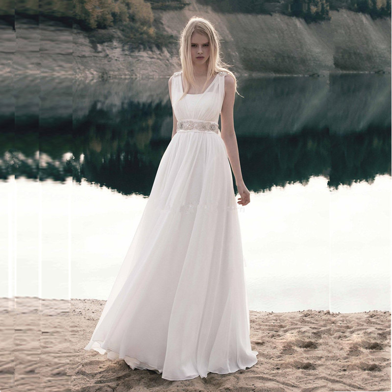 Flowing country wedding dress with beading sleeveless a for Dresses for a country wedding