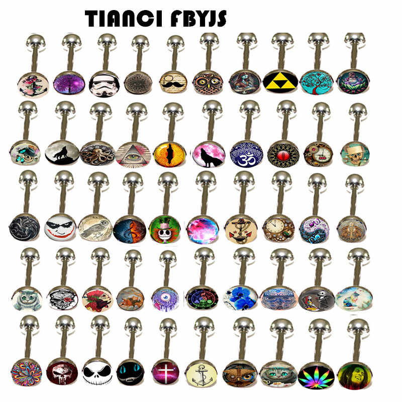 TIANCI FBYJS 10pcs/lot Mix 10 Logo Tongue Piercing Barbell Bars Piercing Tongue Rings Nipple Shiled Punk Fashion Body Jewelry