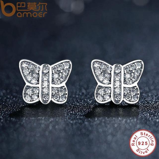 Sterling Silver Sparkling Butterfly Stud Earrings