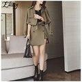 New 2017 Army Green Skirt Set Elegant Women Suits Work Wear Business Soild Casual Trench Coat + Skirt Women 2 Piece Sets