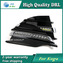 Free shipping !12V 6000k LED DRL Daytime running light case for Ford Kuga 2013-2015 fog lamp frame Fog light Car styling цена в Москве и Питере