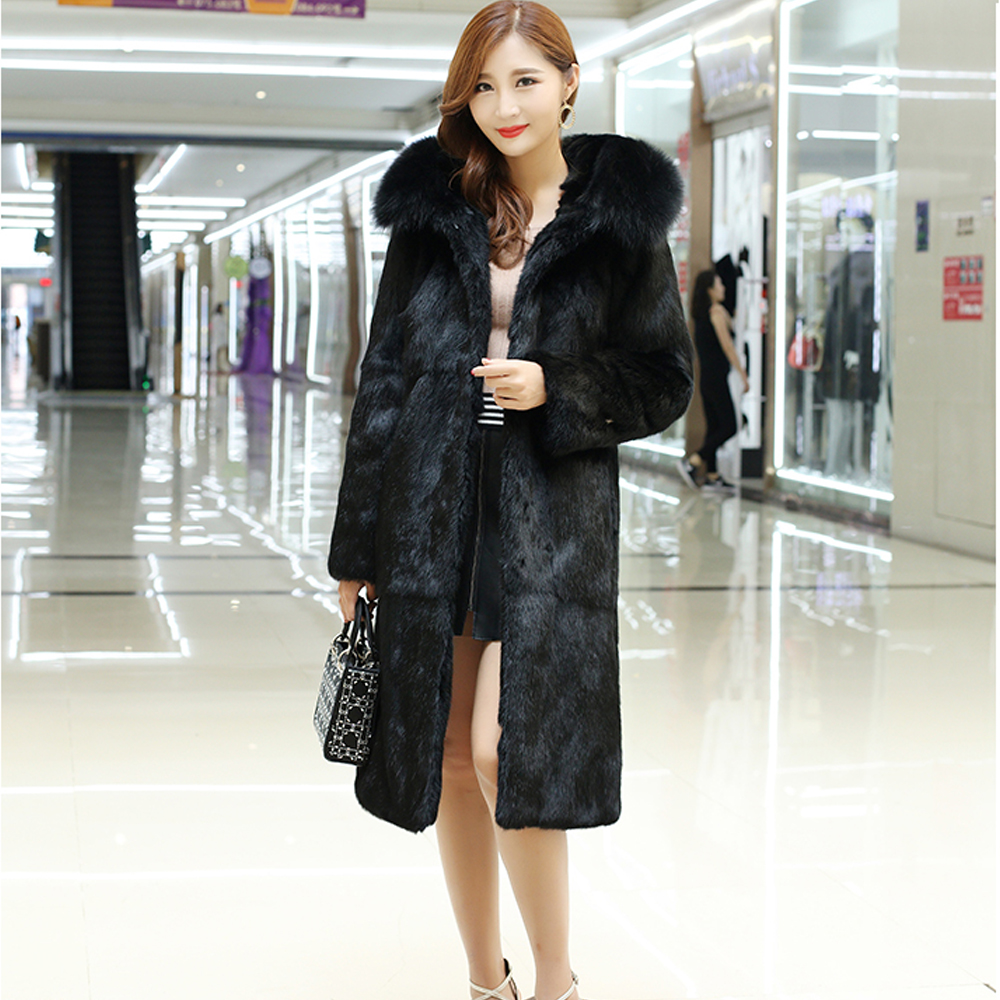 Natural Factory Customize Plus Size Pure 100 Real Rabbit Fur Coat with True Genuine Fox Fur