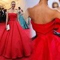 Graça Cannes selena gomez Celebrity Dress A Linha Strapless Sem Mangas Drapeado Bow Cetim Vermelho Até O Chão Projeto