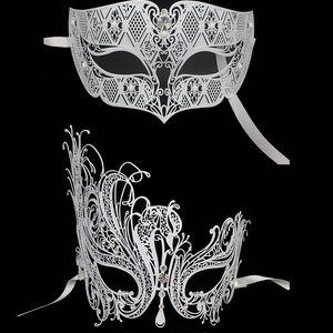 Image 5 - Мужские и женские черные красные фантомные филигранные маскарадные маски для влюбленных парные костюмы венецианские металлические лазерные вырезанные шариковые маски набор