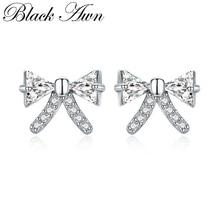 [BLACK AWN] 925 Sterling Silver Earrings Trendy Bow-knot Stud Earrings for Women Female Bijoux I108
