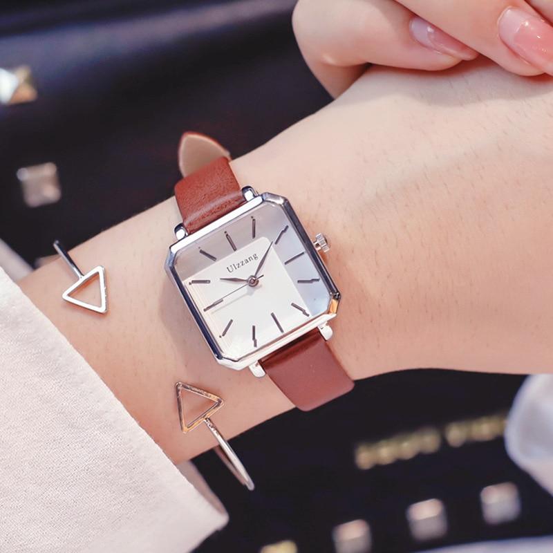 Square Dial Designer Women's Fashion Retro Watches Simple Stylish Ulzzang Brand Quartz Ladies Wristwatches Relogio Feminino